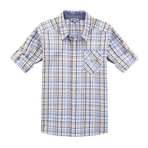 Bienzoe Boy's Cotton Plaid Roll Up Button Down Sports Shirts Yellow/Blue 7/8