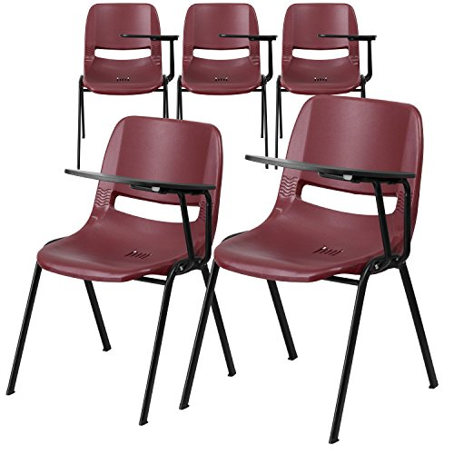 (Flash Furniture 5 Pk. Burgundy Ergonomic Shell Chair with Left Handed Flip-Up Tablet Arm)