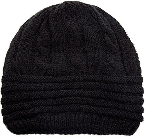 Reversible Cashmere Knit Scarf (LINKED MODA Knit Beanie Hat Cap Headwear - Reversible Black Heather Christmas Scarf Gift Earmuff Black Scarf Chunky)