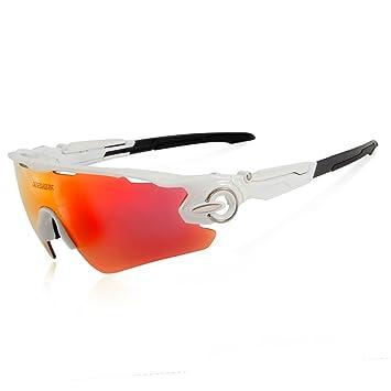 Queshark TR90 UV400 Unisex Gafas de Sol Deportivas Polarizadas 5 Lentes de Cambios Incluido para Deporte