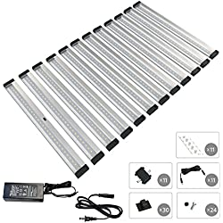 [New] EShine 12 Panels 12 inch LED Dimmable Under Cabinet Lighting Kit, Hand Wave Activated - Touchless Dimming Control - Deluxe Kit, Cool White (6000K)