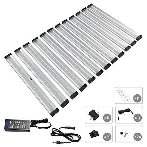 [New] EShine 12 Panels 12 inch LED Dimmable Under Cabinet Lighting Kit! Hand Wave Activated - Touchless Dimming Control - Bright, Strong and Stable - Easy to Install - Deluxe Kit, Cool White (6000K) by Eshine