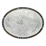 Montana Silversmiths Unisex Silversmith Silver Simple Filigree Belt Buckle Silver One Size