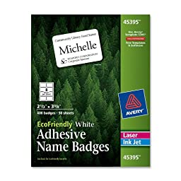 Avery White EcoFriendly Name Badges, 2.33 x 3.375 Inches, Box of 500 (45395)