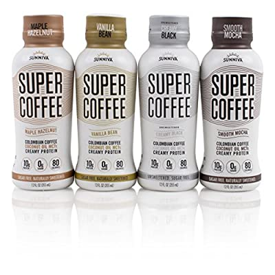 SUNNIVA Super Coffee 4 Variety Pack NEW Sugar-Free Formula, 10g Protein, Lactose Free, Soy Free, Gluten Free (1 each of Vanilla Bean, Smooth Mocha, Maple Hazelnut, and Creamy Black)