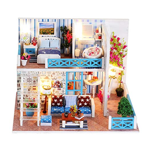 Unionm Doll House, Dollhouse Furniture, Tiny House, Dollhouse Kit, Miniatures, DIY 3D Wooden Helen's Living Room Puzzle Toy with LED Light Birthday Gifts for Teens Adult (A)