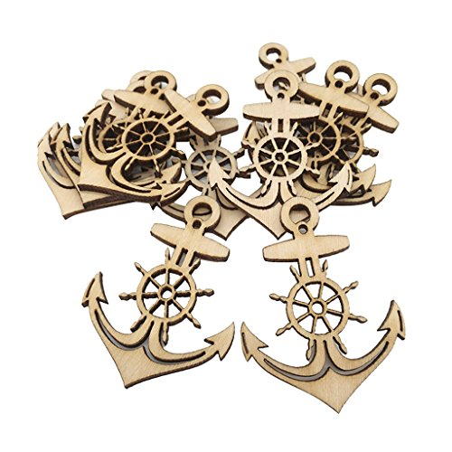Baoblaze 10 Pieces Unfinished Wooden Anchor Shapes Hanging Gift Tags Embellishment Crafts]()