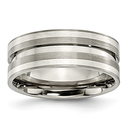 (Titanium Grooved 925 Sterling Silver Inlay 8mm Brushed Wedding Ring Band Size 10.00 Precious Metal Fine Jewelry Gifts For Women For Her )