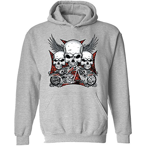 Amazing Items Three Skull With Motorcycle For Halloween And Day Of The Dead Unisex's Hoodie, 2X-Large, Sports Grey