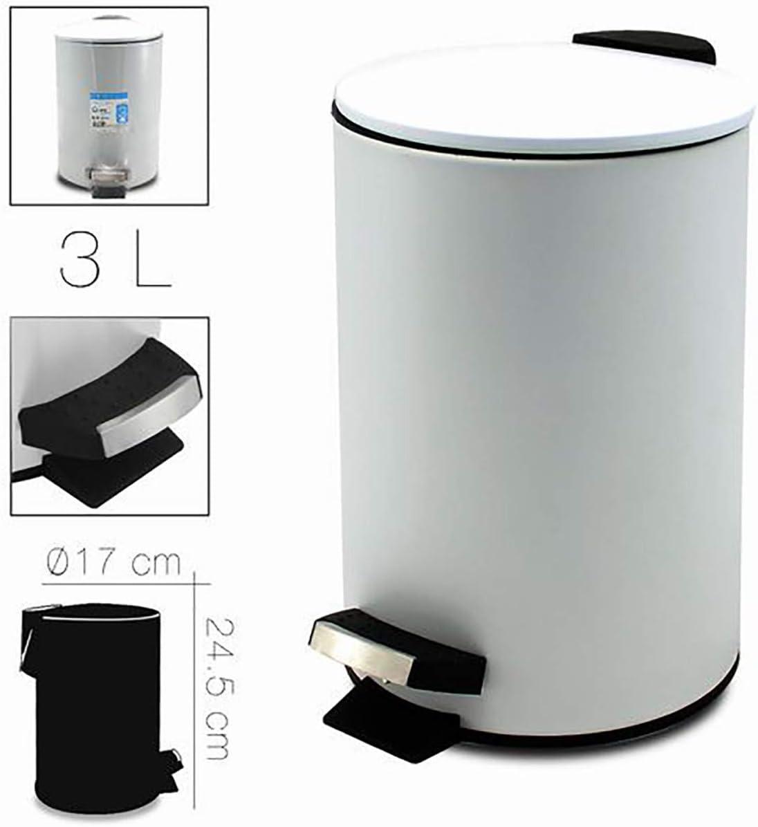 Capacidad de 3 litros Hogar y M/ás ba/ño con Tapa y Pedal Papelera Met/álica Blanca 17x24,5cm Papelera para Oficina