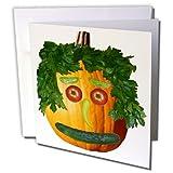 3dRose Sandy Mertens Halloween Food - Pumpkin Veggie Face - 12 Greeting Cards with envelopes (gc_6019_2)
