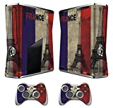 Xbox 360 Skin Sticker X360 Decals Custom Cover Skins Xbox360 Slim Modded Console Game Accessories Set Decal Xbox 360 S Stickers with 2 Wireless Remote Controllers - French Flag by GameXcel ®