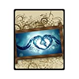 Mayers 50''(W)x60''(L) (Medium) Discounts Vintage Photo Frame Waves Heart Fleece Throw Blanket