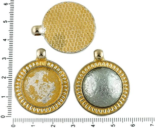 2pcs Czech Matte Gold Patina Antique Silver Tone Large Round Pendant Cabochon Settings Leaf Bezel Blank Tray Metal Base Fit Cameo 20mm Gold Leaf Patina