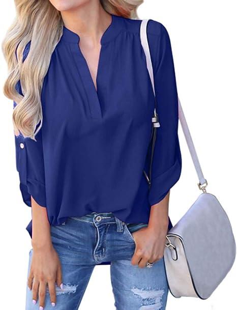Camisa sólido Manga Larga Mujer Sueltas,Blusas Botones Mujer ...