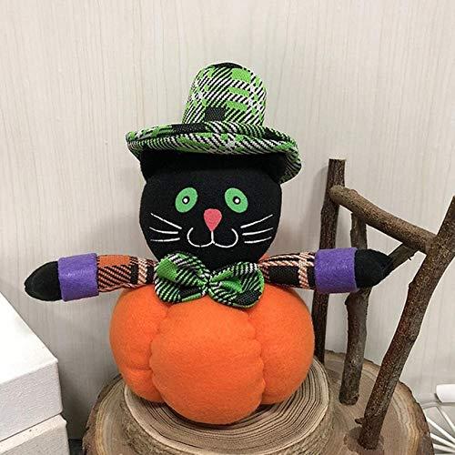 ZAMTAC Bar Halloween Dance Pumpkin Shaped Cute Decoration Hotel Gifts Plush Stuffed Dressing Supplies Ornament Ghost Festival Mall - (Color: Black cat) -