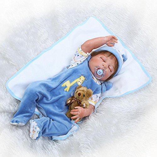 icradle Realistic Looking 23インチ57 cm WeightedソフトフルボディSiliconeビニールRebornベビー人形Boy Life Likeハンドメイド新生児Dolls解剖学的に正しいWashable幼児用おもちゃクリスマスギフト   B07BSGSHX2