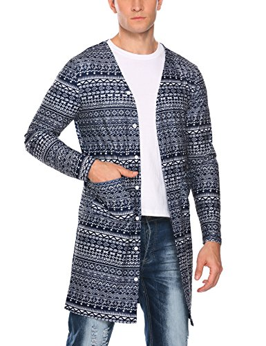Coofandy Men's Slim Fit Floral Cardigan Casual Tattoo Printed Long Length V Neck Open Front Shirt, Navy Blue(tattoo), Medium