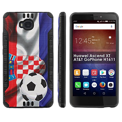 Click to buy [Mobiflare] Huawei Ascend XT [AT&T H1611] Shock Proof Armor Phone Cover [Black/Black] Defender Protective Case - [Croatia Flag Soccer Ball] for Huawei Ascend XT [AT&T GoPhone H1611] [6