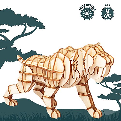 Saber Toothed Tiger (Rolife 3d Wooden Puzzle Wild Animal Toy-DIY Tiny Model Kit-Animal Action Figure-Assembly Jigsaw Puzzle-Home Decoration-Lovely Birthday Easter Day Gift for Son/Grandson/Boys/Girls(Saber Toothed Tiger))