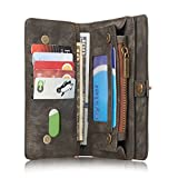 CaseMe Galaxy S7 Edge Multifunctional Purse Wallet Flip Cover With Large Zipper Compartment,Kickstand, Card Holder, Genuine Leather Magnetic Case for Samsung Galaxy S7 Edge (Black)