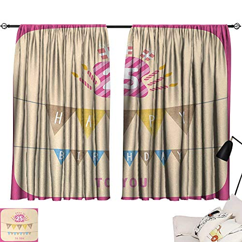 Jinguizi 25th Birthday Curtain Backdrop Pink Framework Cute Flags Letters Burning Candlesticks Gifts Colorful Print Household Darkening Curtains Multicolor W55 x L39 by Jinguizi (Image #6)