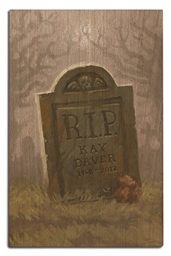 Lantern Press Headstone - Halloween Oil Painting (12x18 Wood Wall Sign, Wall Decor Ready to Hang)