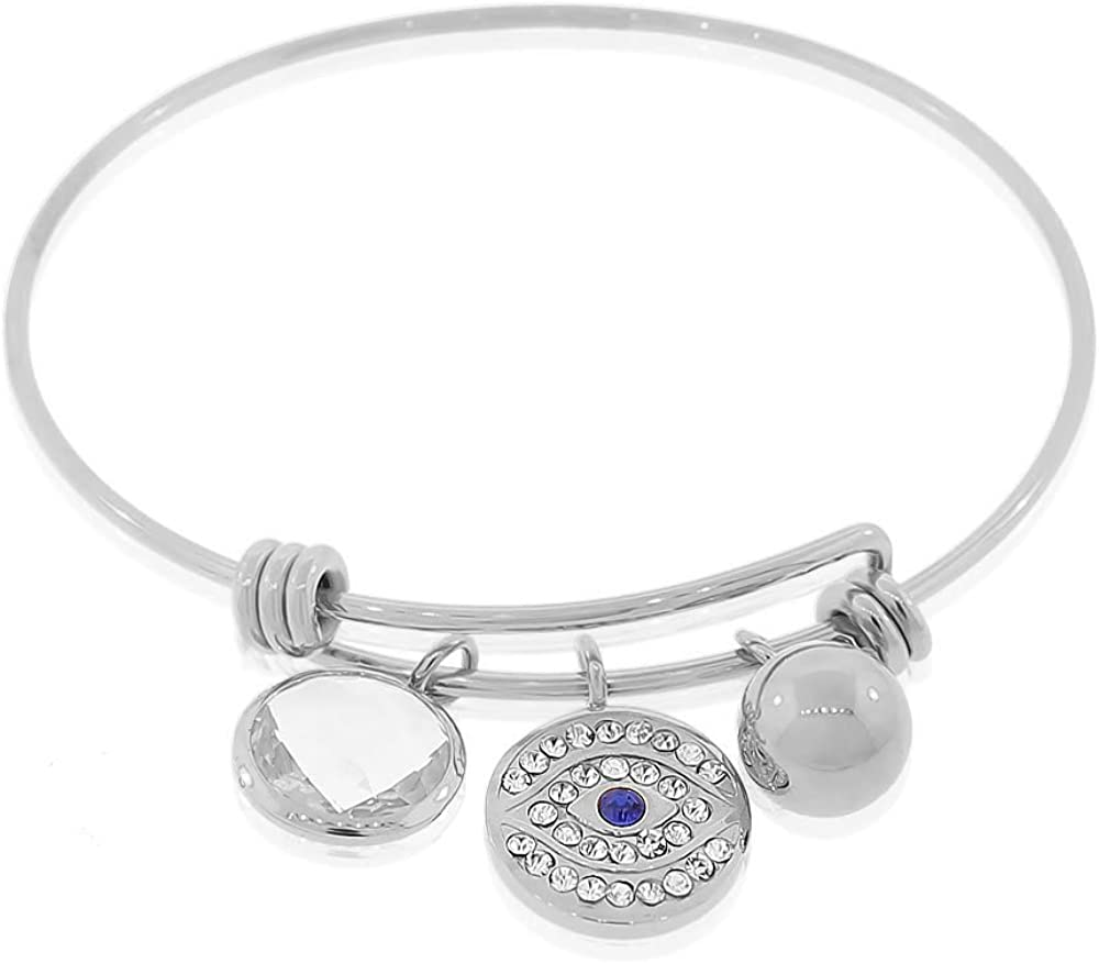 My Daily Styles Stainless Steel Silver-Tone Classic Bangle Bracelet