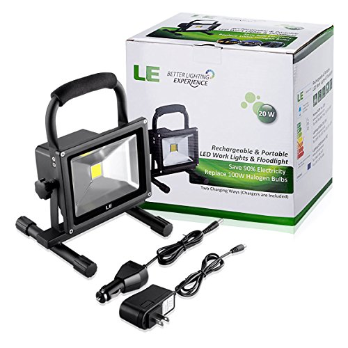 Outdoor Flood Light Does Not Work: LE 20W Rechargeable Portable LED Work Light, 100W Halogen