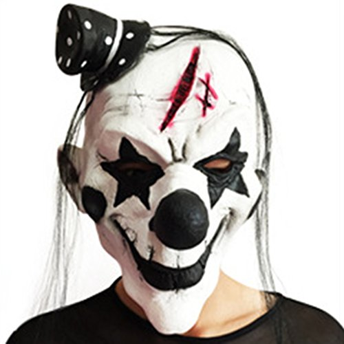 Topker Black and White Scary Clown Mask Full Face Cosplay Horror Masquerade Adult Ghost Mask -