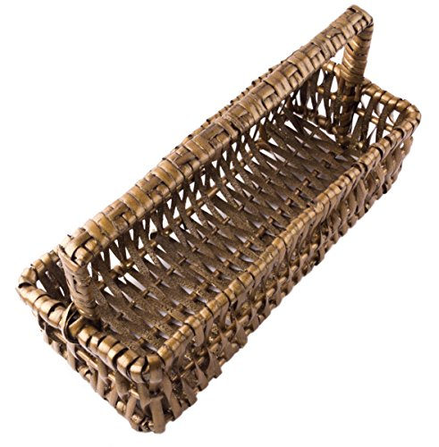 Rectangular Willow Catch-All Tray Basket with Handle in Dark Glittering Oak - 10 Inches by Red Co. (Image #1)