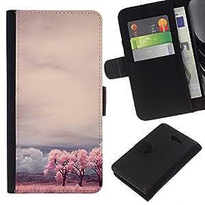 KLONGSHOP // Tirón de la caja Cartera de cuero con ranuras para tarjetas - Teal Árbol África Nubes Vignette Cielo África - Sony Xperia M2 //