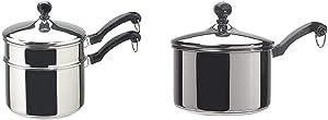 Farberware Classic Stainless Series 2-Quart Covered Double Boiler & Classic Stainless Steel 2-Quart Covered Saucepan - - Silver