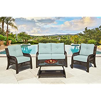 4 Piece Chelsea Cappuccino Resin Wicker Patio Loveseat, Chairs U0026 Table  Furniture Set   Kate Sky Cushions