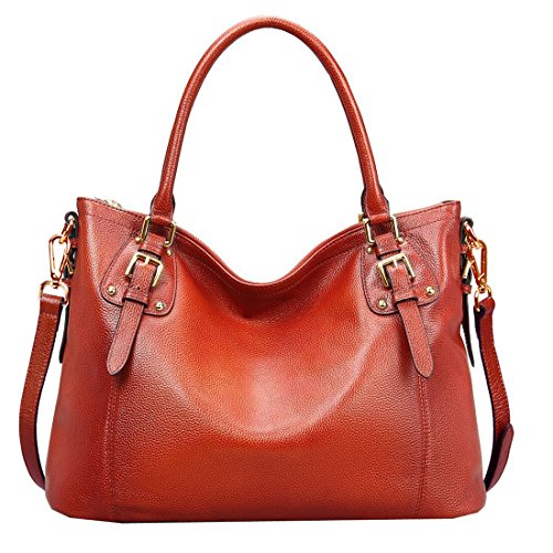 BIG SALE-AINIMOER Women's Large Genuine  - Maroon Leather Grain Shopping Results