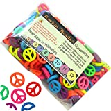 Rockin Beads Brand, 180 Neon Peace Symbol Mixed Acrylic Beads About 17mm Dia with Hole 1.3mm