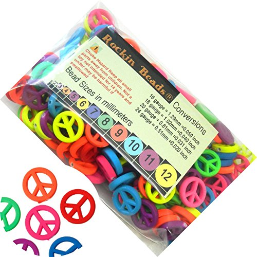 Rockin Beads Brand, 180 Neon Peace Symbol Mixed Acrylic Beads About 17mm Dia with Hole (Peace Square Card)