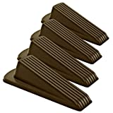 Home Premium Rubber Door Stopper - Multi Surface Door Stop Wedge with Heavy Duty Design - Flexible and Non Scratching Door Holder (4 Pack, Brown)