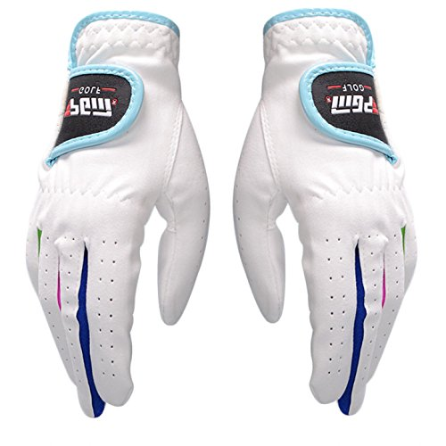 Golf Kids Golf Glove - PGM Youth Kid Children Golf Glove One Pair, Improved Grip System, Cool and Comfortable (XL(17))