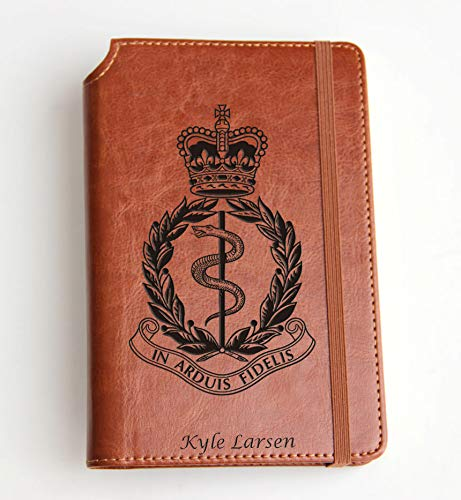 (Army Medical Corps Logo Journal with Custom text or custom initials engraved Journal leather bound, strip with the same color to keep it closed, snake, crown)