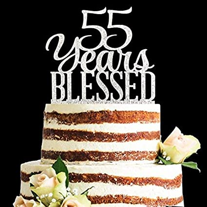 Amazon Glitter Silver Acrylic 55 Years Blessed Cake Topper