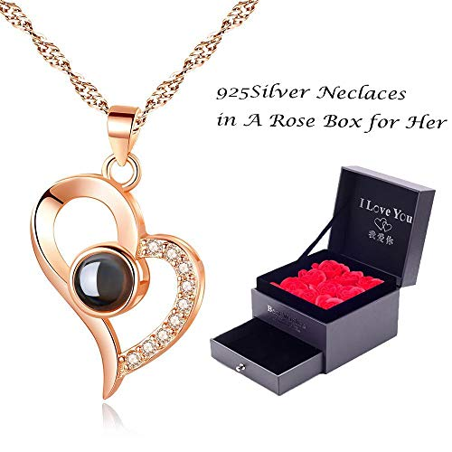 Feili Woman Necklace Love Memory 925 Silver Projection Pendant 100 Languages I Love You to Lover Grilfriend (Heart in Rose Gold)