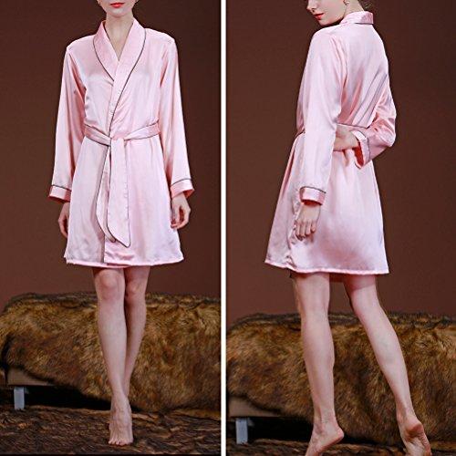 Zhhlaixing Fashion WP002 Womens Silk Kimono Dressing Gown Nightwear Sleepwear Pink