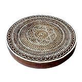 8 Inch Ethnic Large Printing Stamp Round Flower Design Big Wood Block