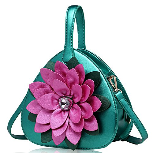 Sunyixinnb Shoulder Bag Bag Woman With Flowers, Green Green