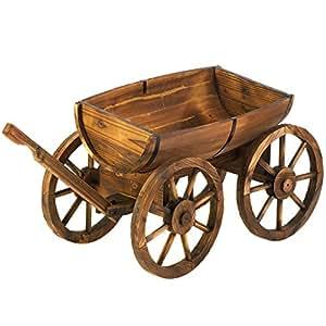 MD groupgarden maceta Old Country madera barril Wagon de rústico de madera decorativo Patio pantalla