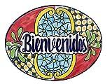 Casa Fiesta Designs Bienvenidos Talavera Ceramic Large Tile Sign - Handmade - 10'' x 8'' Multicolor - Bienvenidos Multicolor