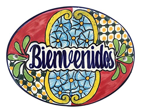 """Casa Fiesta Designs Bienvenidos Talavera Ceramic Large Tile Sign - Handmade - 10"""" x 8"""" Multicolor - Bienvenidos Multicolor"""