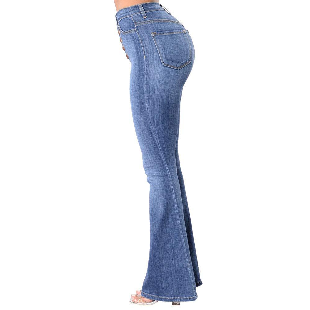 Farjing Pants Clearance Sale Women High Waisted Skinny Denim Jeans Stretch Slim Pants Calf Length Jeans(2XL,Blue by Farjing (Image #4)