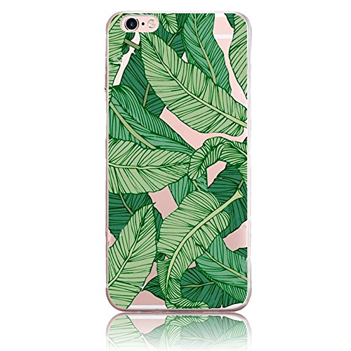 Bonice Apple iPhone 5/5S/SE Soft TPU Case, Premium Ultra Thin Slim Exact Fit Silicone Rubber Clear Transparent Back Cover Art Creative Scratch-Resistant Non-slip Protective Skin - Big Green (Iphone Silicone Rubber Skin Cover)
